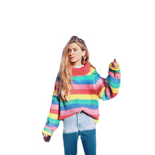 Fashion Sweaters 2019 Women New Womens Color Striped Knit Pullover Sweater Long Sleeve Clothes Harajuku