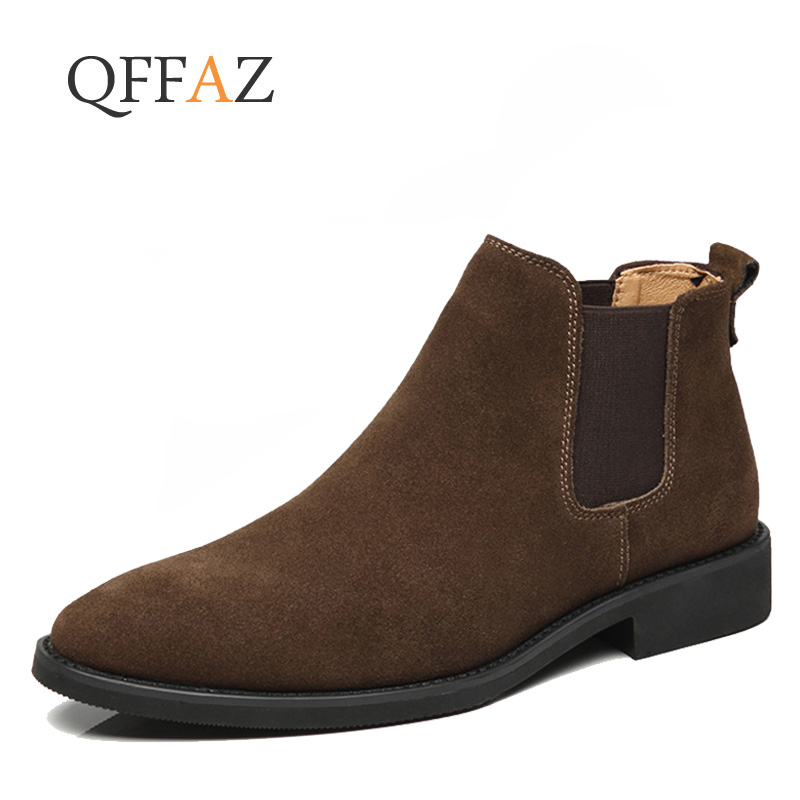 QFFAZ  Fashion Winter Men Chelsea Boots Brown Slip On Nubuck Trending Man Leisure Boots Black Luxury High Top Casual Shoes 38-44