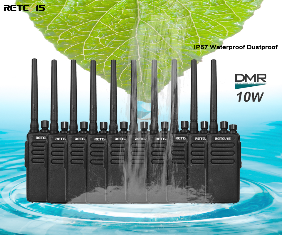 DMR Radio High Power 10pcs Retevis RT81 IP67 Waterproof 32CH UHF 400-470 Mhz Digital/Analog Walkie Talkie VOX Encryption A9119A