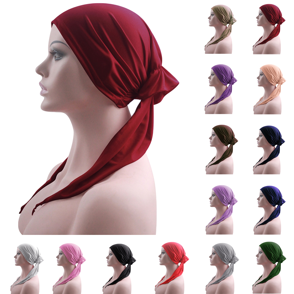 Women Solid Turban Bonnet Head Scarf Headwear Muslim Cancer Hat Chemo Cap Headscarf Hair Loss Covers Beanie Wrap Inner Caps Hats
