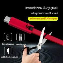 Regulowany kabel USB odnawialny kabel do ładowania telefonu dla iphone'a cięcie szybko naprawa Android typ C telefon komórkowy wielokrotnego użytku