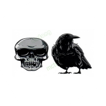 Waterproof Temporary Tattoo Sticker black crow bird skull Fake Flash Tatoo Tatouage Wrist Foot Hand For Women Men image