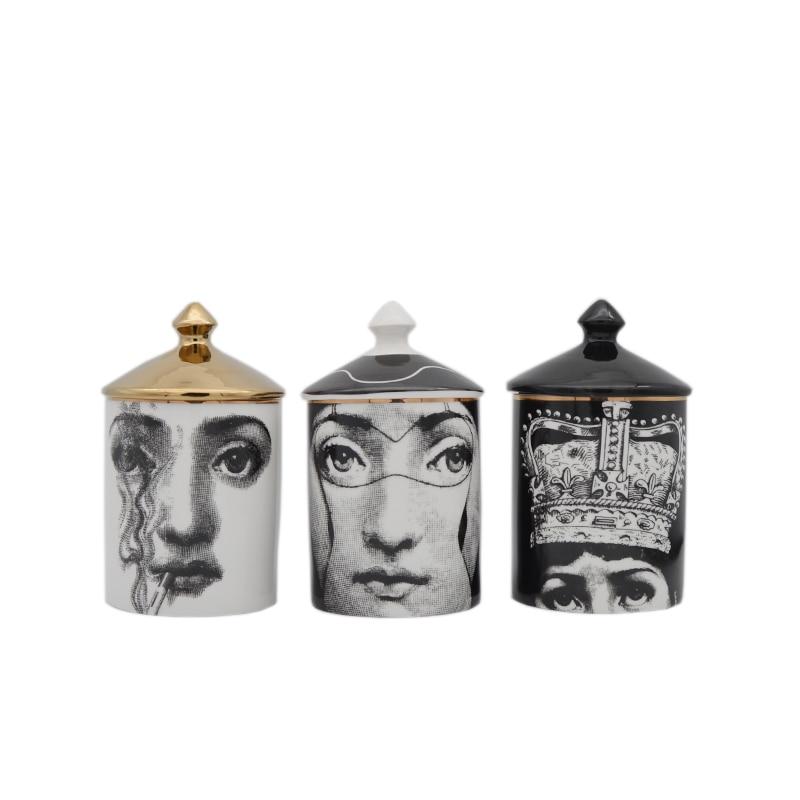 Roman Tower Shape Candle Holder Jewerlry Storage Dressing Pen Jar Cup Makeup Pen Organization Holder Human Face Decorative Cup