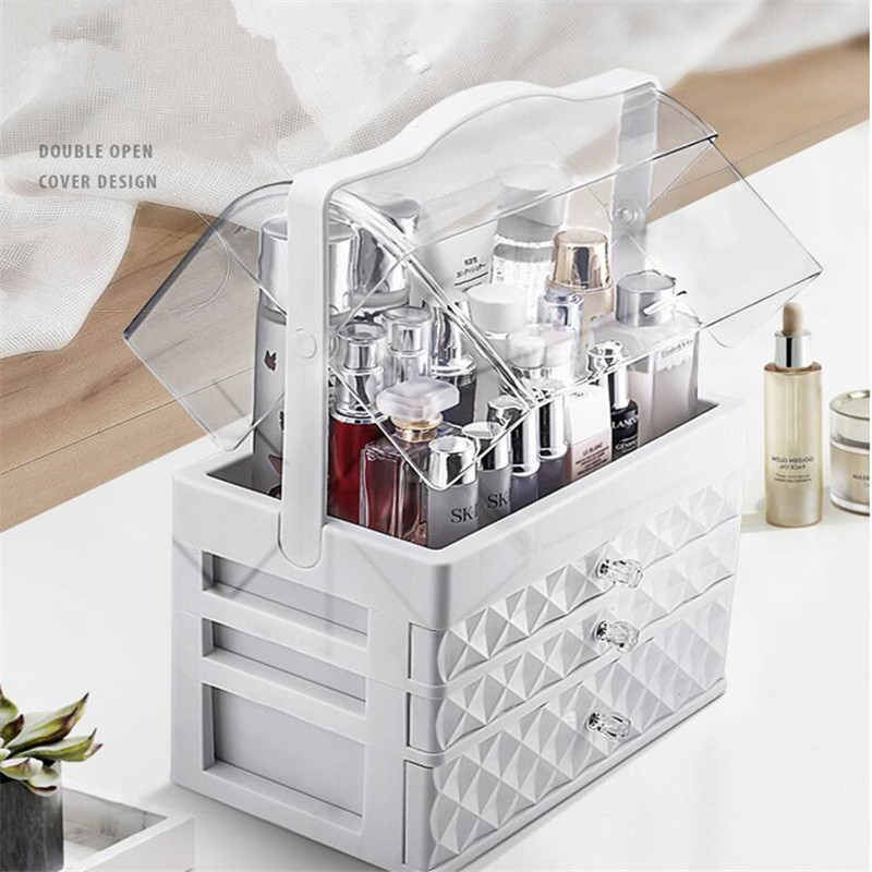 Waterproof Cosmetic Case Transparent Makeup Jewelry Box Multifunctional Travel Cosmetic Organizer Drawer Home Storage Boxs