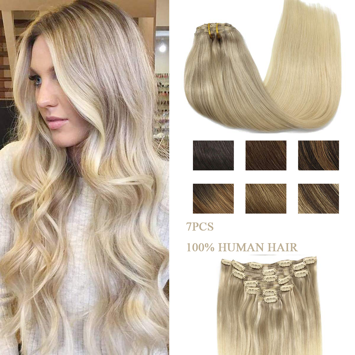 Full Head Clip In Hair Extensions Natural Black to Light Brown Honey Blonde Ombre 7pcs 120g 100% Human Remy Hair Clip Extensions