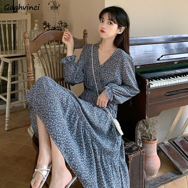 Long Flare Sleeve Dress Women V-neck Slender Floral Printed Korean Style Chic Sweet Ins Elegant Womens Spring A-line Vestidos