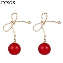 JXXGS Women Pearl Stud Earrings Fashion Tahitian Lovely Cherry Butterfly knot Jewelry Accessories Female