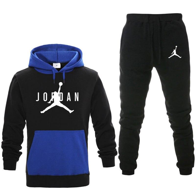 New Men Hoodies Suit Fleece Warm Jordan 23 Tracksuit Men Sweatshirt Suit Hoodie+Sweat Pants Jogging Homme Hooded Tracksuit Men