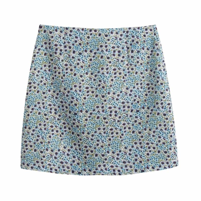 New 2020 Women Summer Print A Line Mini Skirt Faldas Mujer Ladies Back Zipper Chic Skirts QUN586