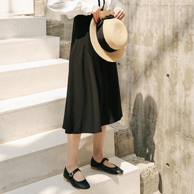 2020 Season Irregular Umbrella Pendulum Half-body Skirt Girls Long Han Fan Zhang Ulzzang Student Longuette Fashion 4