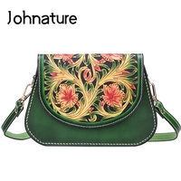 Johnature Chinese Style 2020 New Handmade Leather Carving Women Shoulder Luxury Bag High Quality Cowhide Retro Messenger Bags