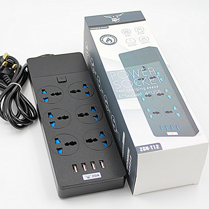 Power Strip Plug with 6 AC Outlets & 4 USB Fast Charging Ports Socket Adapter US UK EU AU Power Socket Overvoltage protection