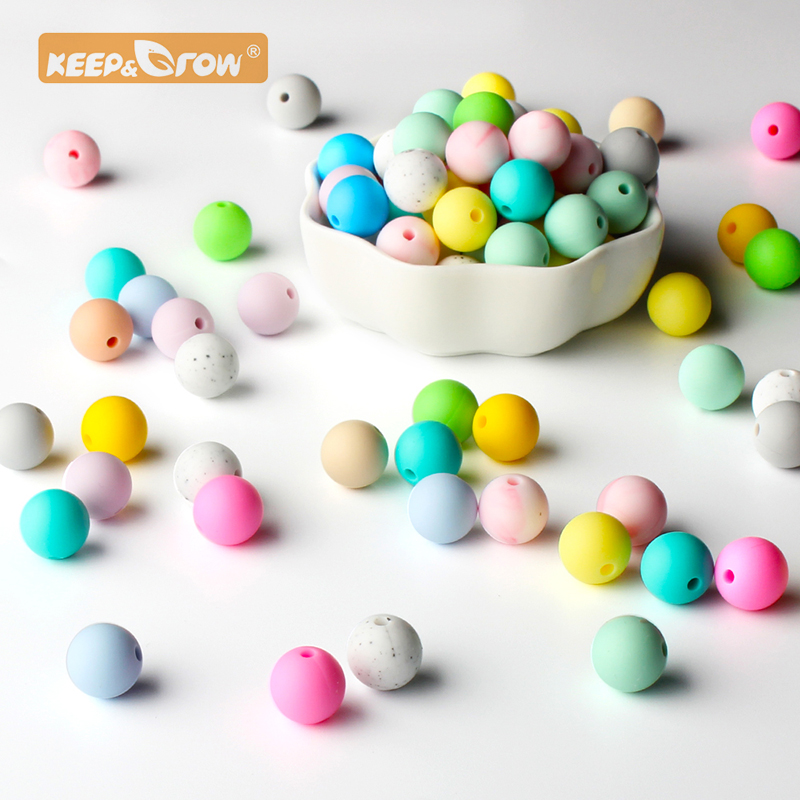 Keep&Grow 100pcs Silicone Beads 12mm Food Grade Round Silicone Beads DIY Baby Pendant Necklace Silicone Teether
