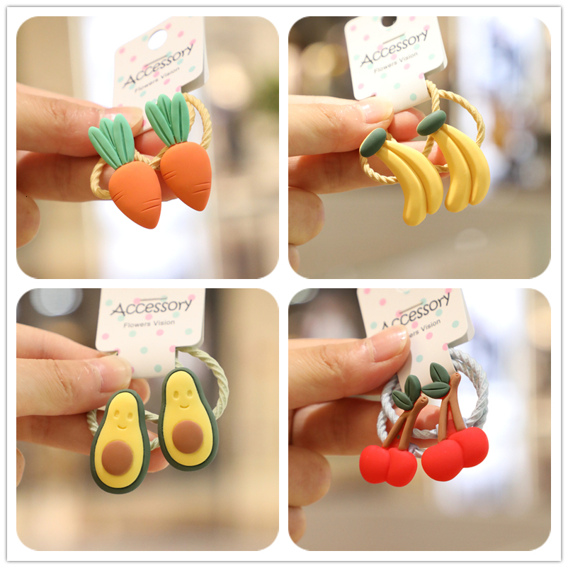 2PCS New Cute Fruit Avocado Watermelon Princess Headwear Kids Elastic Hair Bands Children Ropes Girls Accessories Baby Headdress
