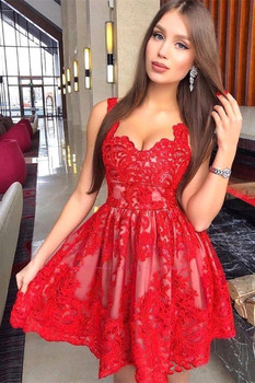 Red 2019 Homecoming Dresses A-line Sweetheart Short Mini Appliques Lace Elegant Cocktail Dresses фото