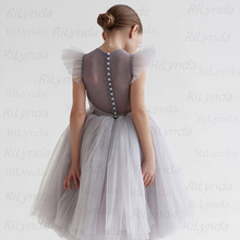 Dresses Beading-Communion-Dress Flower-Girl Kids NEW Back Organza Pearls Perspective