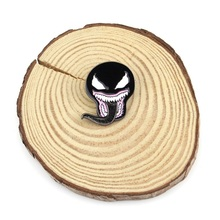 Vintage Venom Spiderman Enamel Pin Black Symbiote mask with tongue Metal Lapel Brooch Spooky Movie Horror Sci Fi Jewelry