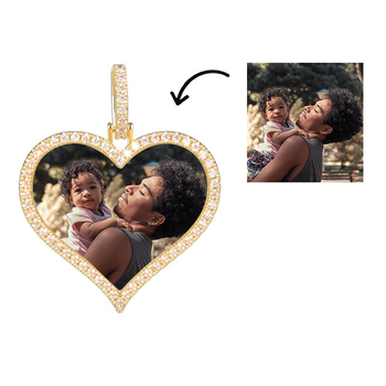 Custom Iced Heart Shape Photo Necklace & Pendant  in Gold With 4 Mm Tennis Chain Aaa Cubic Zircon Men Hip hop Jewelry Necklace gold pendant with topaz and cubic zirkonia