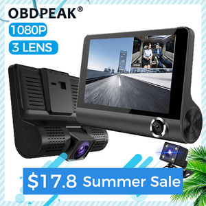 Dash cam 3 Cameras Lens 4.0 Inch car dvr Dash Camera 3 Lens With Rear View Video Recorder Dashcam Full Hd 1080P Russian Language
