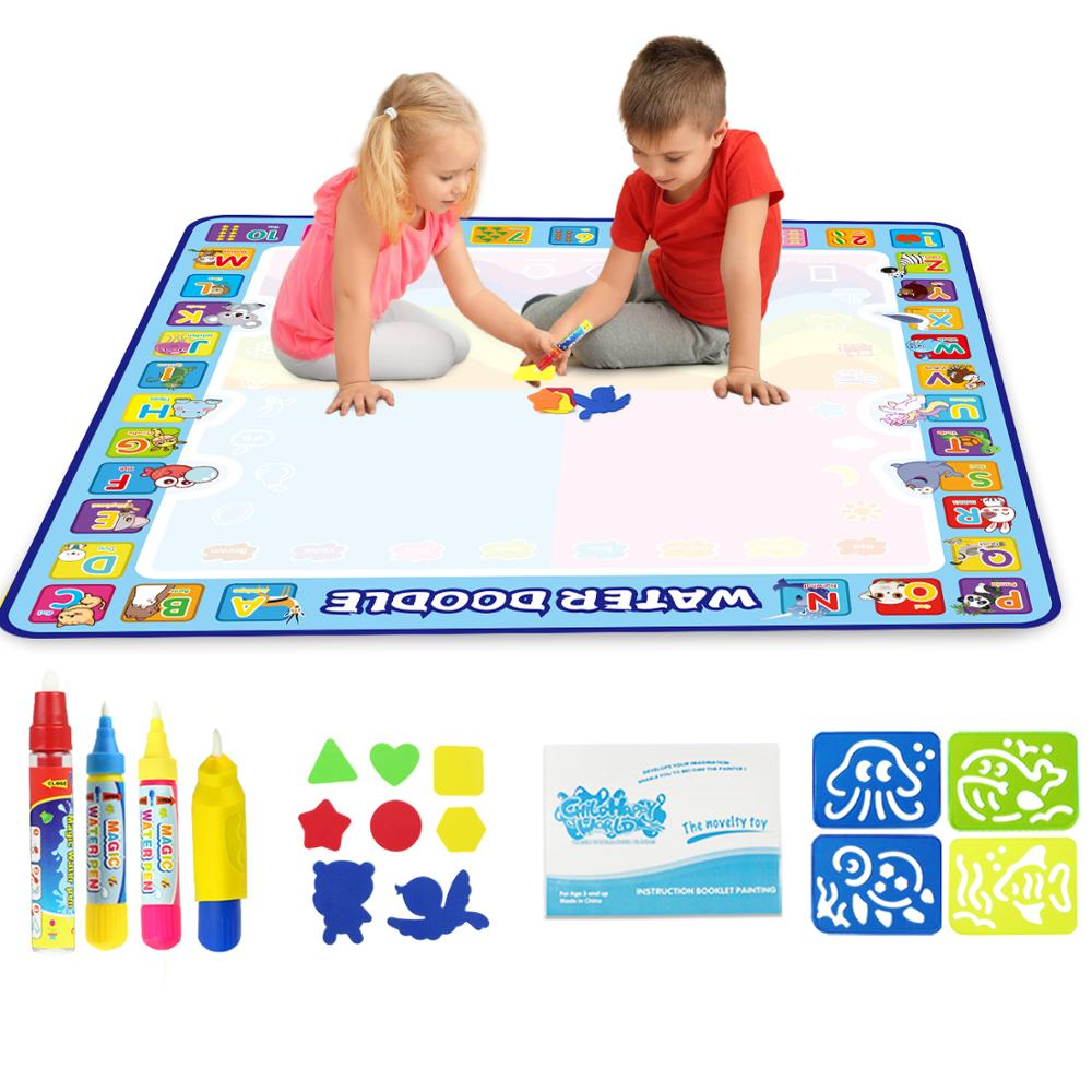 100x100cm Magic Water Drawing Mat Doodle Mat & 4 Drawing Pens & 1 Stamps Set Painting  Board Educational Toys For Kids Xmas Gift