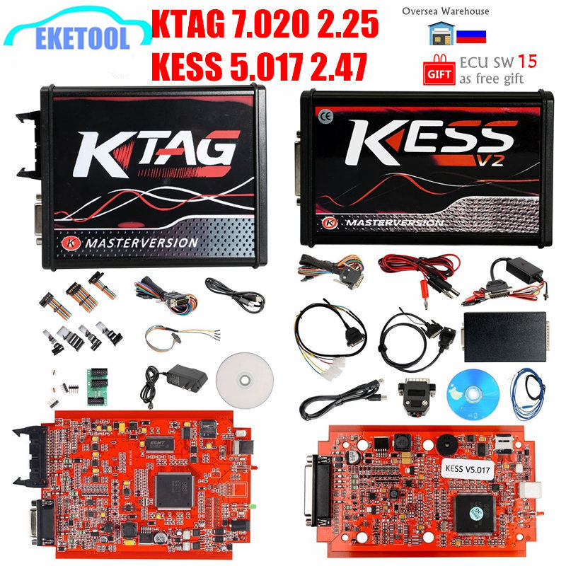 KESS V2 47 V5 017 V2 Online 4LED Red PCB KTAG 7 020 SW2 25 OBD2