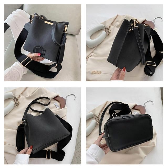 Vintage Scrub Leather Bucket Bags for Women 2021 Trending Designer Crossbody Shoulder Handbags Women's Wide Shoulder Belt Bag 4