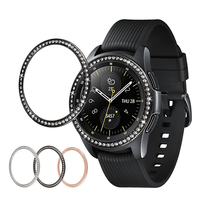 Bling Bezel For Samsung Galaxy Watch 46mm 42mm gear s 3 s2 cover Diamond Metal Ring Adhesive Cover Anti watch Accessories