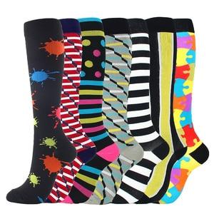 Image 2 - 7 זוגות\חבילה מעורב דחיסת גרביים Fit עבור ריצה יוניסקס אחיות טיסה נסיעות רגל לחץ לדחוס גרביים באיכות גבוהה