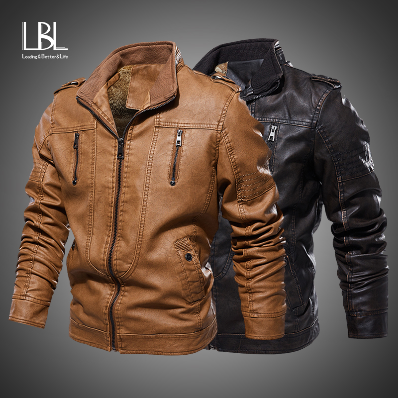 2019 New Men's Leather Jackets Autumn Casual Faux Motorcycle PU Jacket Winter Biker Zipper Leather Coats Brand Clothing EU Size