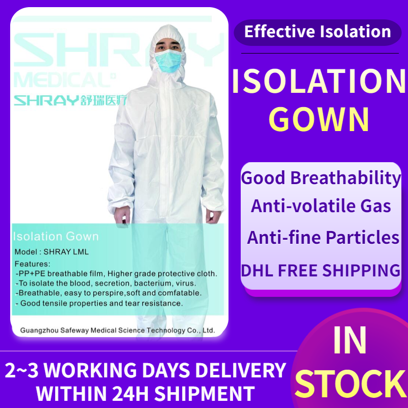 Medical Coveralls Disposable Isolation Gown Protective Clothing Breathable Hooded Suit With Elastic Cuffs Ankles Hoodie In Stock