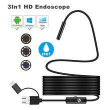 USB endoskop kamera 8/7/5.5mm su geçirmez muayene kamera 1/2/3.5/5M yumuşak tel boroskop endoskop 6 Led PC Android için