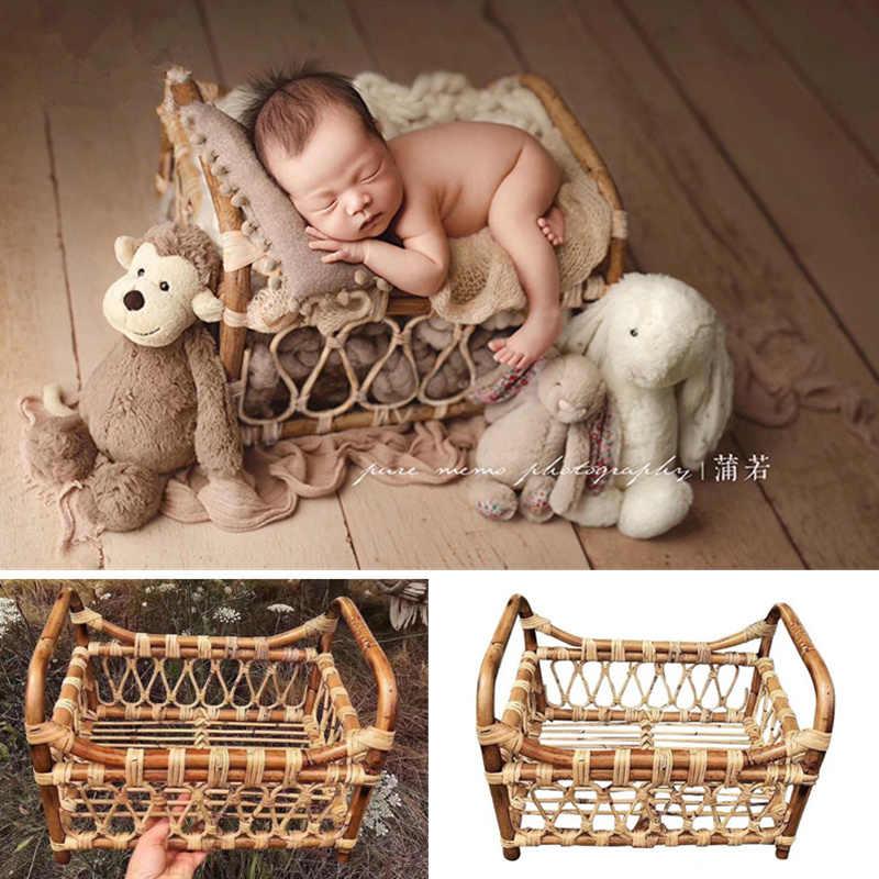 新生児写真撮影の小道具織ラタンバスケットポーズフレームスタジオベビー写真撮影小道具容器 Fotografia アクセサリー