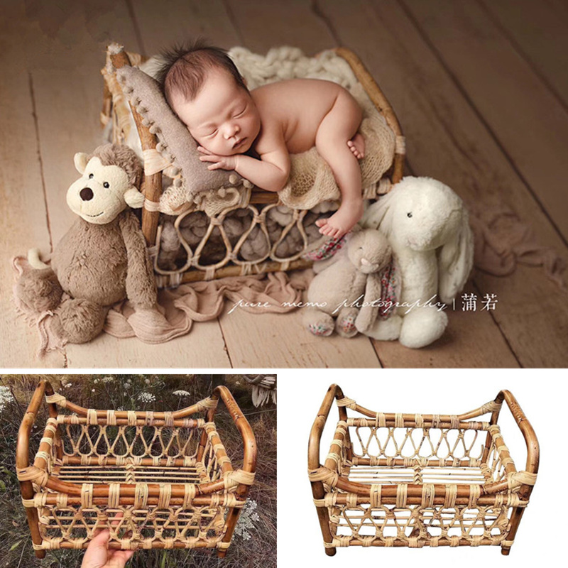 Newborn Photography Props Boy Woven Rattan Basket Posing Frame Studio Baby Photo Shooting Props Container Fotografia Accessories