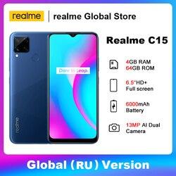 Realme C15, 4 ГБ, 64 ГБ, глобальная версия, Восьмиядерный, 6000 мАч, аккумулятор, ЖК-дисплей, 13 МП, Quad Camera, 6,5 дюймов, полный экран, 18 Вт, быстрая зарядка