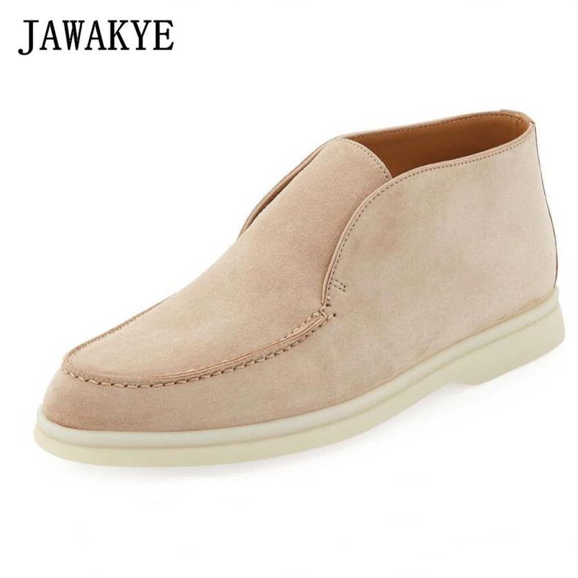 JAWAKYE 2019 Penny Loafers Women High-top Nude Suede Flat Casual Shoes Woman Round Toe Slip On Loafers Winter Open Walk Shoes