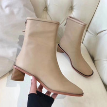 2019 spring and autumn new high-heeled women's boots fashion simple soft leather ankle boots Women Shoes topuklu bot boty