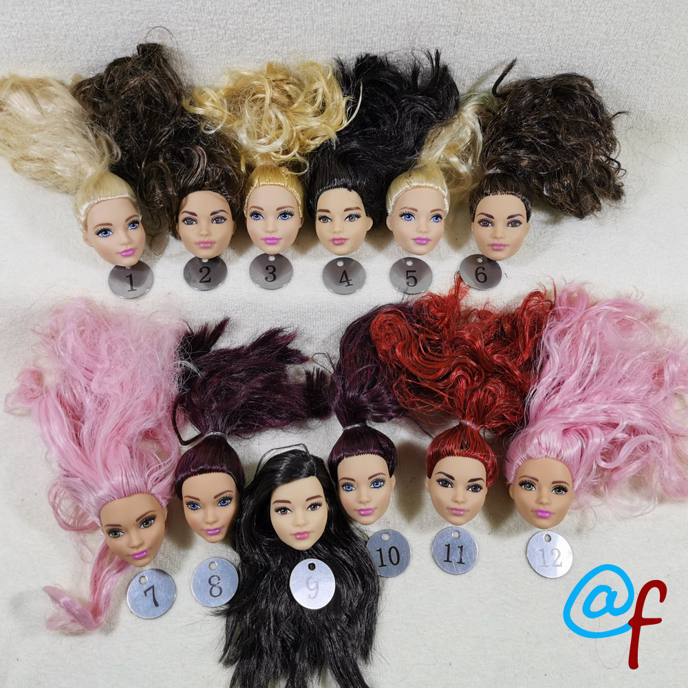 B111-3 Original Foreign Trade South Asia Calm Beauty 1/6 OOAK NUDE Rarely Doll Head Mussed Dark Brown Hair For DIY 90% NEW
