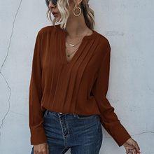 2021 V-cuello de manga larga falda de gasa de viaje de Color sólido blusa de camisa de suéter mujer camisa blanca mujer manga larga E1