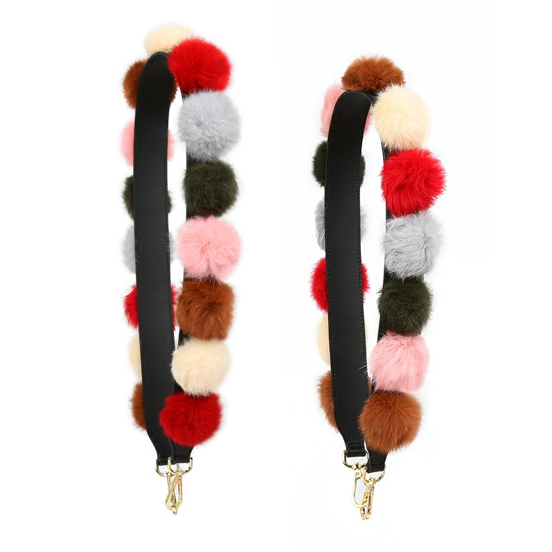 Best Deal╞New Plush Ball Woman Real Rabbit Fur Shoulder Straps For Bags High Quality Handles For