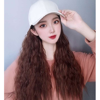 Hat wig With Synthetic wig Hair Extensions Hat With Hair Cap With Hair Long Wave deep weave human hair wig hat wig for woman 24 9 hair holder drawing mat for use with the application of hair extensions drawing card skin pad with needles