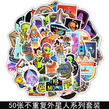 Aliens ET graffiti button cartoon character car body decoration computer guitar slide rod box stickers(China)