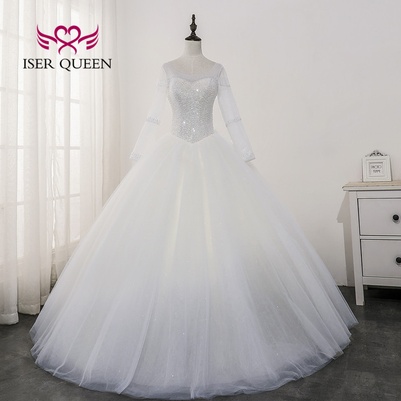 Pure White Tulle Wedding Gown Africa Style Long Sleeve Heavy Beading Bright Sequin Lace 2020 Wedding Dress Lace Up Back WX0172