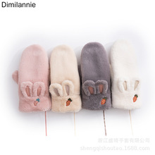 New Fashion Knitting Cute Rabbit Winter Gloves Women Plus Velvet to Keep Warm Pink for Woman