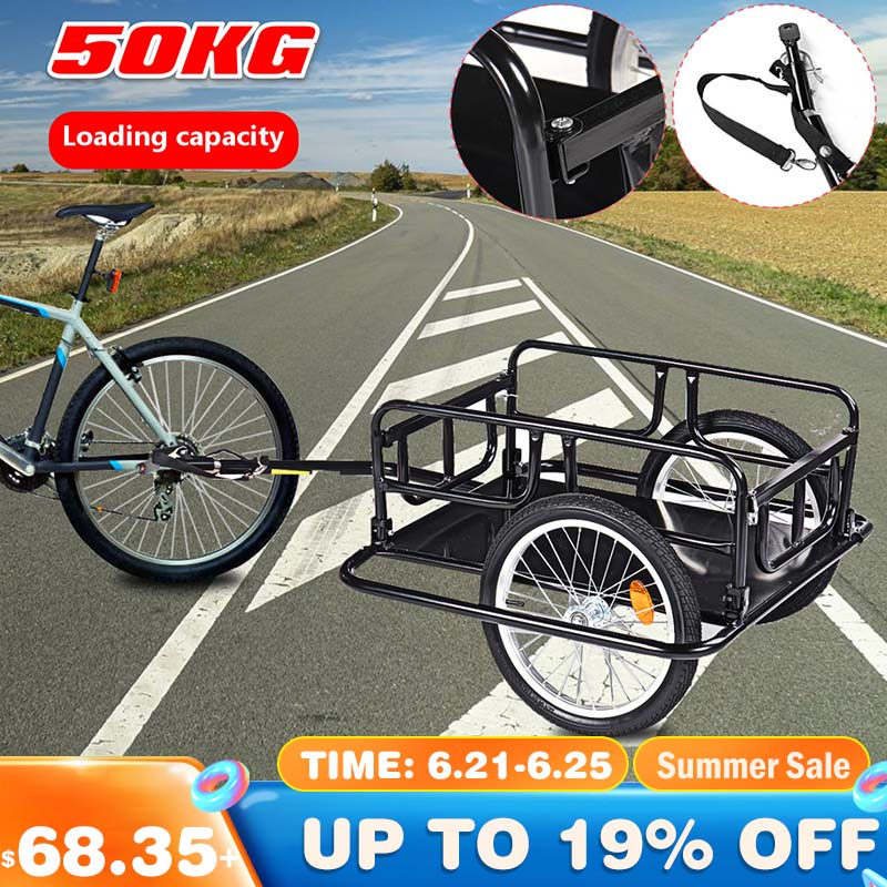 Fast-shipping Foldable Multifunctional  Bicycle Cycle Bike Cargo Trailer for Camping Tent Luggage Carry Transport Load 110lbs