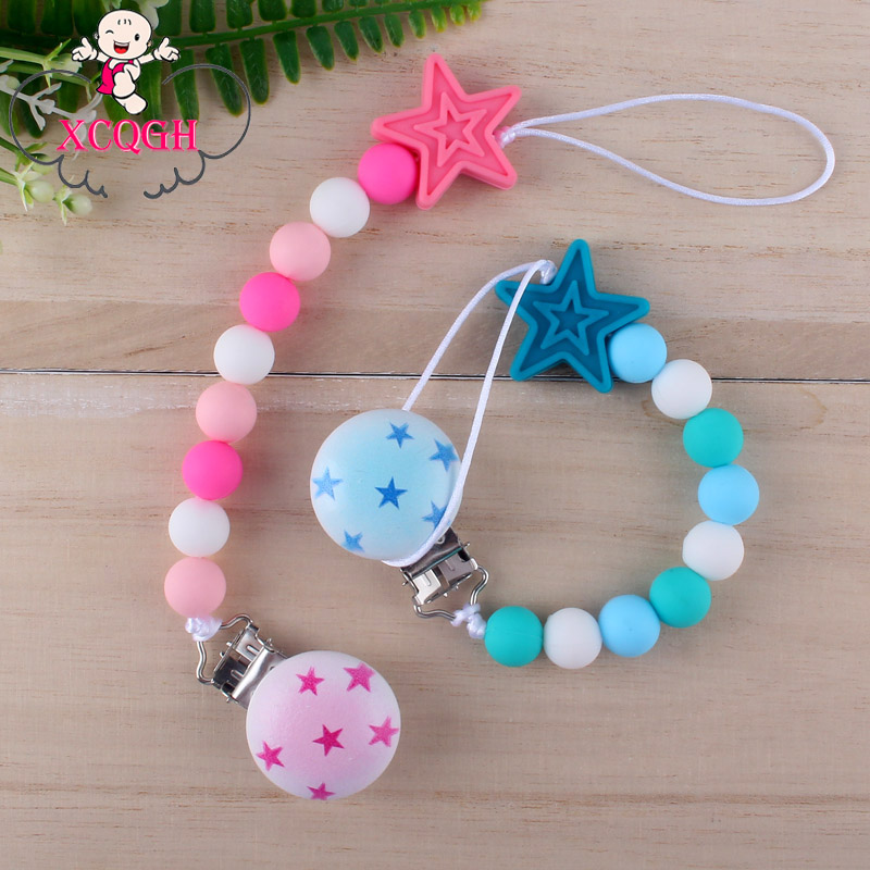XCQGH Baby Pacifier Chain Handmade Beaded Silicone Beads Pentagram Baby Pacifier Anti-lost Chain