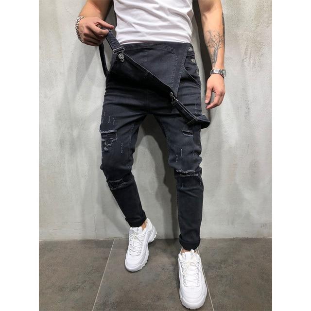 Fashion Men Pants Ripped Jeans Overalls Jumpsuits Hi Street Distressed Denim Bib Overalls For Man Suspender Pants Size S-XXXL 3
