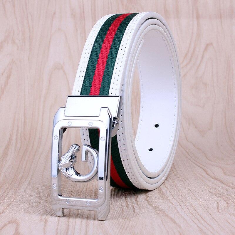 Men's Belt White Cowhide Unisex Fabric Belt Casual Fashion Smooth Buckle Golf Belt Decoration Pants Waistband Cinturon Mujer