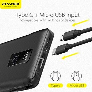 Image 4 - Awei Power Bank 10000Mah Led Display Draagbare Oplader Quick Externe Batterij Ingebouwde 3 Kabels Lightning Type C Micro voor Telefoon
