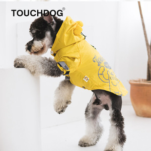 Touchdog Waterproof Clothes for Dogs Spring/Summer New Style Dog Raincoat Two Feet Pet Clothing Dog Coat Suitable Corgis Bulldog