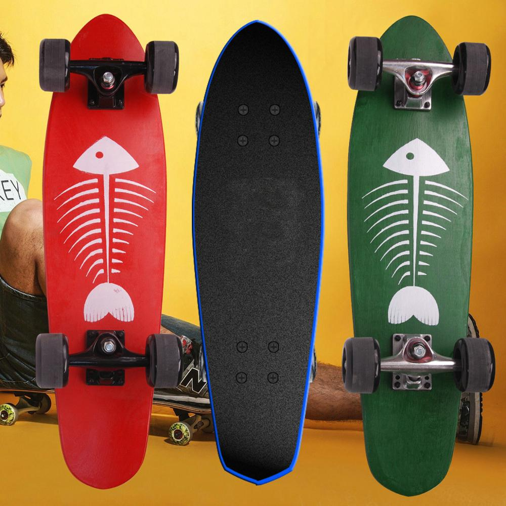 27inch Wooden Big Fish Skateboard Small Fish Board Maple Banana Board Four Wheel Scooter Adult Men Women Brush Street Skateboard